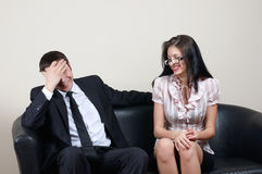 Businessman with secretary. Businessman with beauty secretary in office stock photo