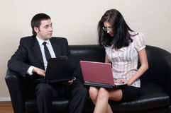 Businessman with secretary. Businessman with beauty secretary in office royalty free stock images