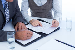 Businessman with secretary checking file Stock Photos