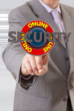 Businessman and security text Royalty Free Stock Image