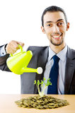 Businessman with  seedlings and coins Royalty Free Stock Images