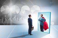 Free Businessman Seeing Himself In Mirror As Superhero Royalty Free Stock Image - 160505976
