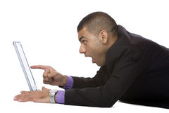 Businessman sees something surprising on internet Royalty Free Stock Photo