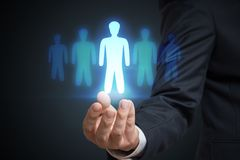 Businessman is selecting best employee candidate. Recruitment and marketing concept.  royalty free stock photos