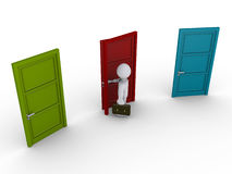 Businessman selecting one door out of three. 3d businessman chooses to open the middle door out of three Stock Photo