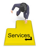 Businessman Selecting Services Shows Help Desk And Biz Stock Image