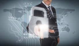 Businessman selecting a white padlock Stock Photo