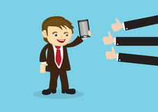 Businessman Selling Mobile Phone to Positive Reviews. Salesperson showing off smart phone and many thumbs-up reviews at the side. Business conceptual vector royalty free illustration