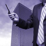 Businessman selling shares Royalty Free Stock Photos