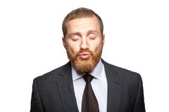 Businessman send kiss with clossed eyes. Stock Images