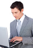 Businessman sending an e-mail Stock Image