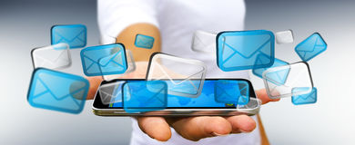 Businessman sending emails with phone '3D rendering'. Businessman with digital email icons over  mobile phone '3D rendering Royalty Free Stock Photography