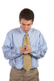 Businessman sending sms Stock Photo