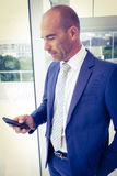 Businessman sending a text message. In his office Stock Images