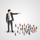Businessman sends the crowd ahead. Vector illustration Royalty Free Stock Image
