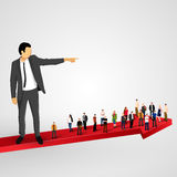 Businessman sends the crowd ahead Royalty Free Stock Images