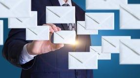 Businessman sends emails. Businessman sends emails concept design Stock Images