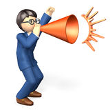 Businessman sends yell. In the suit, he has a megaphone in hand Royalty Free Stock Photography