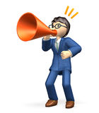 Businessman sends yell. In the suit, he has a megaphone in hand Royalty Free Stock Photos