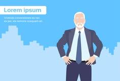 Businessman Senior Boss Business Owner Cartoon. City Skyscraper Flat Vector Illustration stock illustration