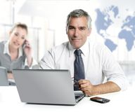 Businessman senior expertise teamwork world map. Global communication royalty free stock photos