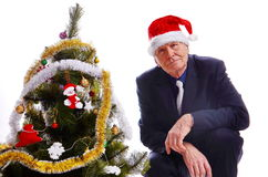 Businessman senior sitting near Christmas tree. Looking at camera on white background Royalty Free Stock Images