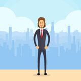 Businessman Serious Full Length, Business Man City Royalty Free Stock Image