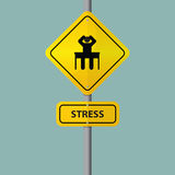 Businessman seriously pressure in workplace. Pictogram icon with stress wording on road sign. Royalty Free Stock Photos