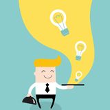 Businessman serve ideas on the plate Business. Success and profit concept Vector illustration Stock Photography