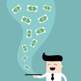 Businessman serve money on the plate Business success and profit concept. Vector illustration Royalty Free Stock Image