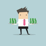 Businessman serve money on the plate. Vector illustration Royalty Free Stock Photography