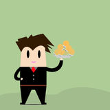 Businessman is served lamps idea. Royalty Free Stock Photos