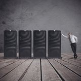 Businessman with server Stock Image