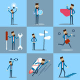 Businessman Set, Business Man In Red Grown Work Day Collection Royalty Free Stock Image
