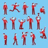 Businessman set. Cartoon character set of businessman in various poses, trendy flat design with simple style Royalty Free Stock Photo