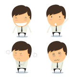 Businessman set of characters emoticons cartoon. Royalty Free Stock Photo