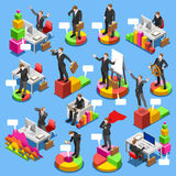Businessman Set 3D Business Isometric People. Businessman isometric people collection. Business man characters on graph chart infographic icons. Flat 3D vector Royalty Free Stock Photos