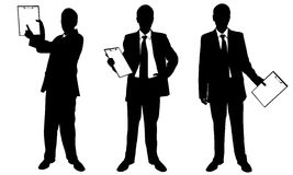 Businessman. Set of different businessmen holding clipboards isolated Stock Photo