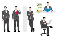 Businessman set. Man in a grey suit and red necktie Royalty Free Stock Image