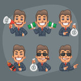 Businessman Set of 6 Poses Stickers Pack Part 7 Royalty Free Stock Photography
