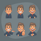 Businessman Set of 6 Poses Stickers Pack Part 1. Vector Illustration, Businessman Holding Smiling, Laughing, Showing Thumbs Up, Indicating, Format EPS 8 Stock Photos