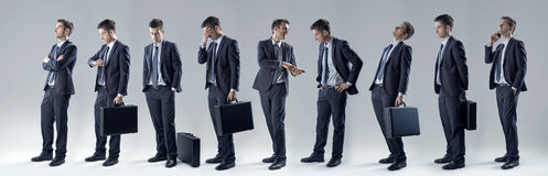 Businessman set of poses Royalty Free Stock Photography