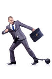 Businessman with shackles Stock Images