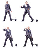 The businessman with shackles on white Stock Photos