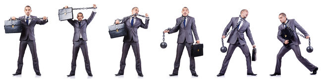 The businessman with shackles on white Royalty Free Stock Photo