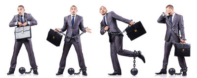 The businessman with shackles on white Royalty Free Stock Image