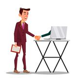 Businessman Shaking Hand Extended From Screen Of His Laptop Vector Flat Cartoon Illustration. Businessman Shaking Hand Extended From Screen Of His Laptop Vector stock illustration