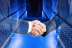 Businessman shaking hand about science modern technology. Double exposure photo for background Royalty Free Stock Images