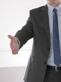 Businessman shaking hand to partner with succesful deal.  Royalty Free Stock Photo