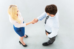 Businessman shaking hands with a businesswoman Royalty Free Stock Photography